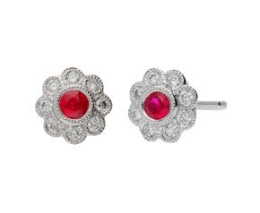 18ct White Gold Ruby & Diamond Cluster Stud Earrings