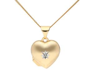 9ct Yellow Gold Small Diamond Heart Locket
