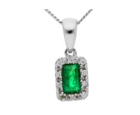 18ct White Gold 0.30ct Emerald & Diamond Cluster Pendant