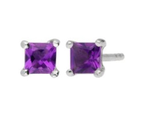 9ct White Gold 3mm Amethyst Solitaire Sqaure Shape Stud Earrings