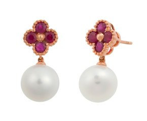 Limited Edition 18ct Rose Gold 1ct Ruby & 9.5mms Freshwater Pearl Drop Earrings