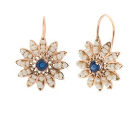 Handcrafted Italian Sapphire & Seed Pearl Flower Cluster Drop Earrings