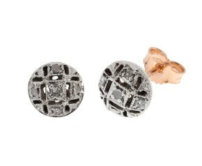 Handcrafted Italian 0.10ct Diamond Cluster Earrings