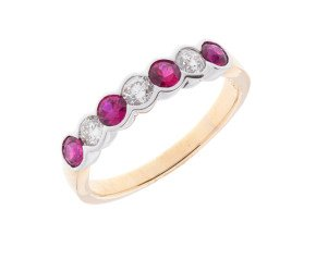18ct Gold 0.56ct Ruby & Diamond Half Eternity Ring