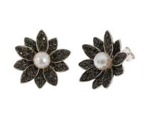 Sterling Silver 6mm Akoya Pearl & Gem-Set Flower Cluster Earrings