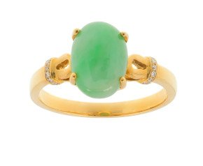 18ct Yellow Gold Jade & Diamond Dress Ring