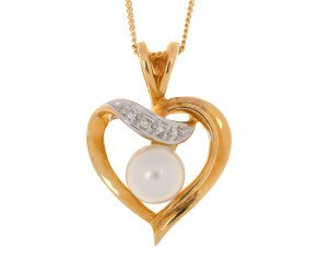 9ct Yellow Gold 5.7mms Freshwater Cultured Pearl & Diamond Heart Pendant