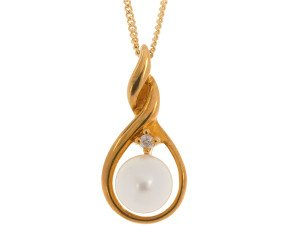 9ct Yellow Gold 5mm Freshwater Cultured Pearl & Diamond Pendant