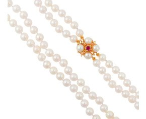 Handcrafted Italian Ruby & Akoya Clasp Two-Strand Akoya Pearl Necklace