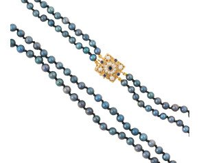 Handcrafted Italian Sapphire & Seed Pearl Clasp Two-Strand Akoya Pearl Necklace