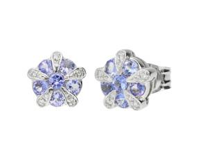 9ct White Gold Tanzanite Diamond Earrings