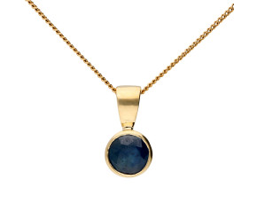 9ct Yellow Gold 0.66ct Sapphire Solitaire Pendant
