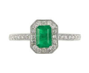 18ct White Gold 0.65ct Emerald & 0.29ct Diamond Cluster Ring