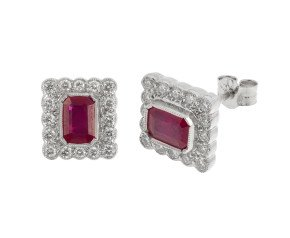 18ct White Gold 1.41ct Ruby & 0.50ct Diamond Cluster Earrings