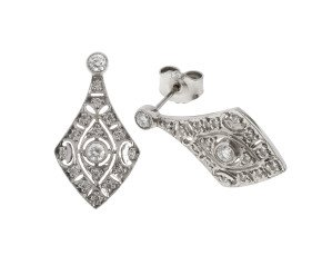 18ct White Gold 0.53ct Diamond Drop Earrings