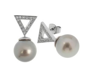 18ct White Gold 11mm Tahitian Pearl & 0.22ct Diamond Drop Earrings