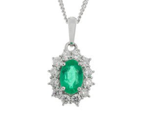 18ct White Gold Emerald & Diamond Cluster Pendant