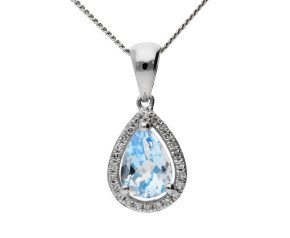 9ct White Gold 0.90ct Aquamarine & Diamond Cluster Pendant