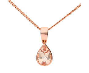 9ct Rose Gold 0.65ct Pear Morganite Solitaire Pendant