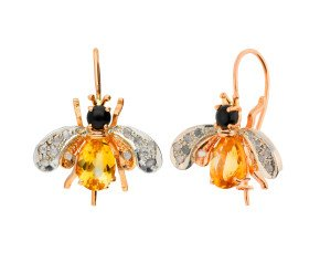 Handcrafted Italian 1ct Topaz, Onyx & 0.10ct Diamond Bee Drop Earrings