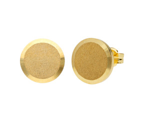 9ct Yellow Gold Satin Disc Stud Earrings
