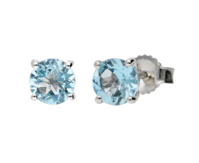 9ct White Gold 0.85ct Round Aquamarine Stud Earrings