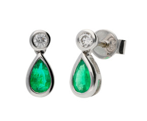 18ct White Gold 0.38ct Emerald & 0.08ct Diamond Fancy Earrings