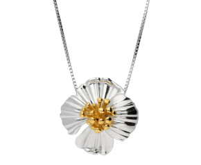 Silver & Yellow Gold Vermeil Poppy Flower Pendant