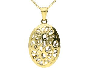 9ct Yellow Gold Large Floral Pendant