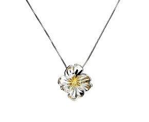 Silver & Yellow Gold Vermeil Primrose Flower Pendant