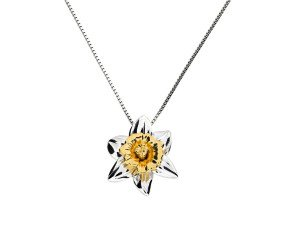 Silver & Yellow Gold Vermeil Daffodil Flower Pendant