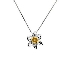 Silver & Yellow Gold Vermeil Narcissus Flower Pendant