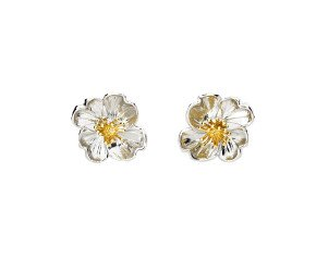 Silver & Yellow Gold Primrose Flower Stud Earrings