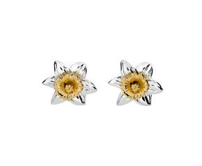 Silver & Yellow Gold Vermeil Daffodil Flower Stud Earrings