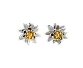 Silver & Yellow Gold Vermeil Waterlilly Flower Stud Earrings