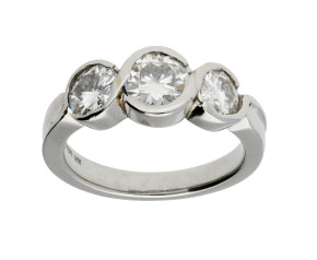 Pre-Owned Platinum Synthetic Moissanite Trilogy Ring