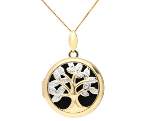 9ct Yellow Gold Round Open Work Tree Locket