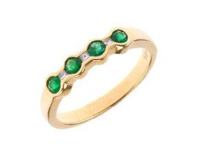 18ct Gold 0.20ct Emerald & Diamond Eternity Ring