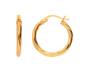 9ct Yellow Gold Twisted Hoops