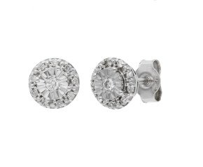 9ct White Gold 0.13ct Diamond Cluster Stud Earrings