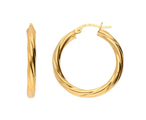 9ct Yellow Gold Chunky Twisted Large Hoops