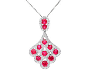 18ct White Gold 1.18ct Ruby & 0.57ct Diamond Small Peacock Pendant