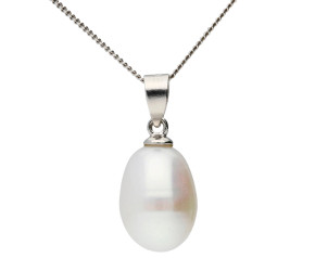 Sterling Silver 7mm Freshwater Rice Pearl Pendant