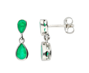 9ct White Gold 1.05cts Emerald Drop Earrings