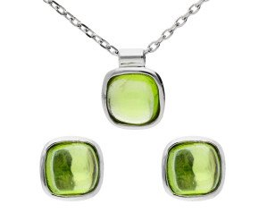 9ct White Gold Peridot Solitaire Earrings & Pendant Jewellery Set