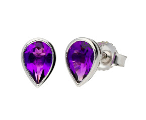9ct White Gold 0.70ct Pear Amethyst Solitaire Stud Earrings