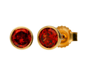 9ct Yellow Gold 0.50ct Round Garnet Solitaire Stud Earrings