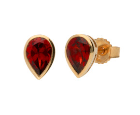 9ct Yellow Gold 1ct Pear Garnet Solitaire Rub Over Earrings