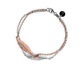 Sterling Silver & Rose Gold Plated Double Feather Bracelet
