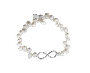 Sterling Silver Cultured Freshwater Pearl Infinity Bracelet